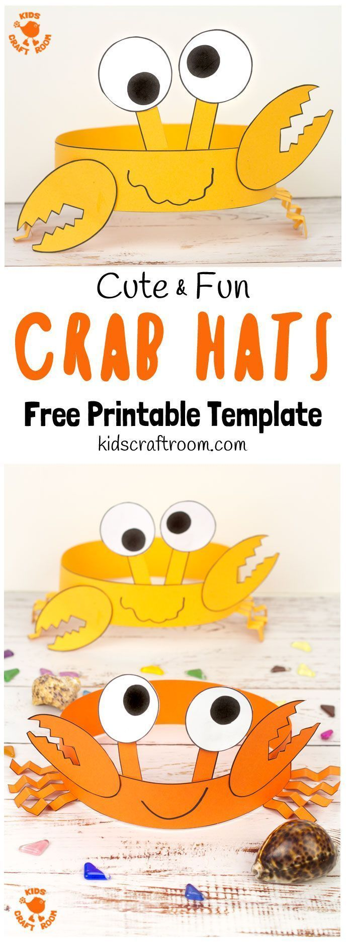 Cute and Fun Crab Hats #summerfunideasforkids
