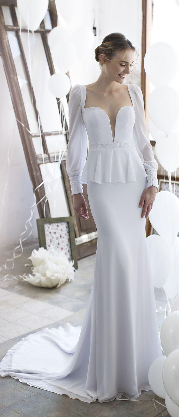Silk sheath wedding dress  Noya Bridal  Valeria Collection  Belle Wedding dress and Gowns
