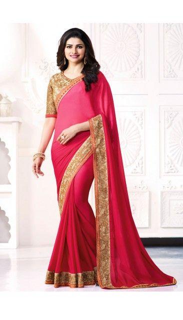 ce5fe2dd064 Prachi Desai Pink Georgette Saree With Blouse - DMV11238