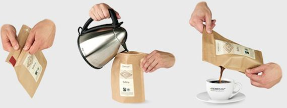 A new coffee product, Grower's Cup, comes in coated paper packaging that allows it to function as a brewer. That's right: Pour in hot water and pour out hot coffee. What can't paper do? via feltandwire.com