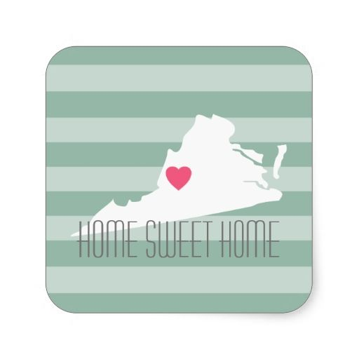 Virginia Map Home State Love with Custom Heart Sticker
