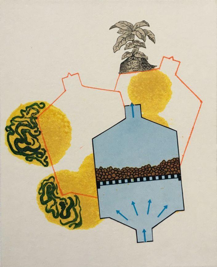 Jutta Scheiner: Plant: #Collage, #Acryl auf Karton  #Pflanze #Versuch #Experiment #Wissenschaft #Versuchsaufbau #juttascheiner #startyourart www.startyourart.de