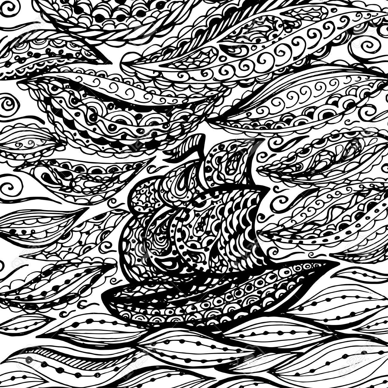 Ship In The Sea And Storm Graphic Illustration Of Boat Paisley Fighting Coloring Pages Food With Faces Young Christian Princess Dresses Fall Leaf Page Coding