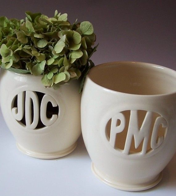 Personalized Monogram Gift  Vases for Individuals or by MaidOfClay, $52.00