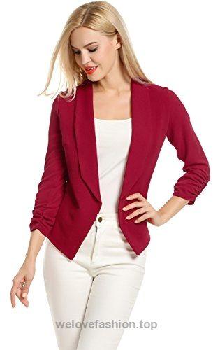 YYear Womens 3//4 Sleeve Pure Color Cropped Fashion One Piece Work OL Blazer Jacket Coat
