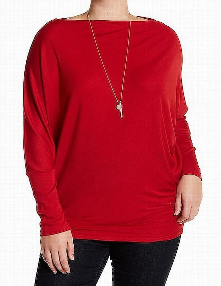 94453869139 Mello Day NEW Red Womens Size Small S Asymmetrical Solid Knit Top  62- 617   fashion  clothing  shoes  accessories  womensclothing  tops