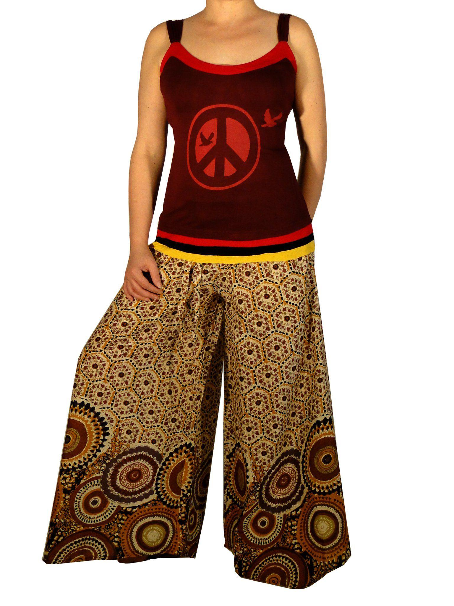 v tements ethniques pantalon papillon graphic marron mode ethniques chics sarouel pantalon. Black Bedroom Furniture Sets. Home Design Ideas