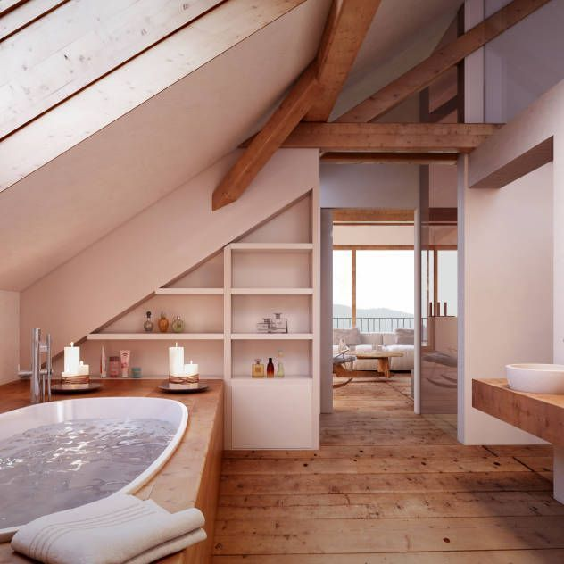 Photo of Attic Bathroom: Rustic bathroom by von Mann Architektur GmbH – Decorating Ideas