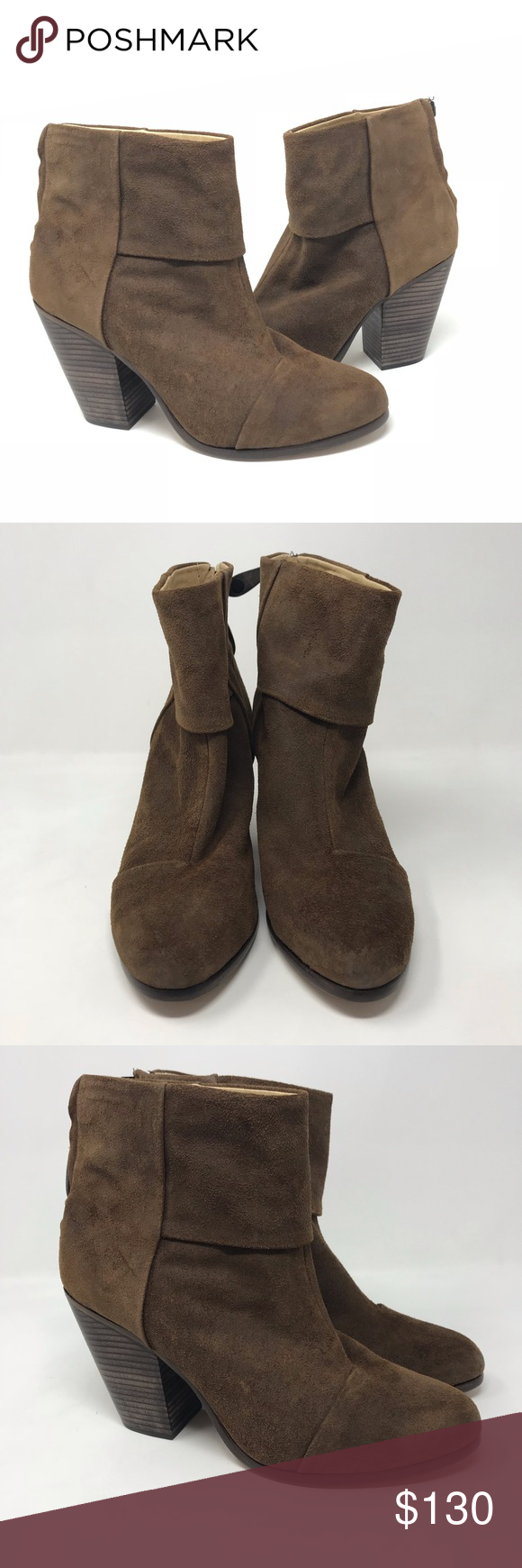 0d76b439808 RAG   BONE NEWBURY BROWN WAXED SUEDE ZIP UP BOOTS New with defects these  were used