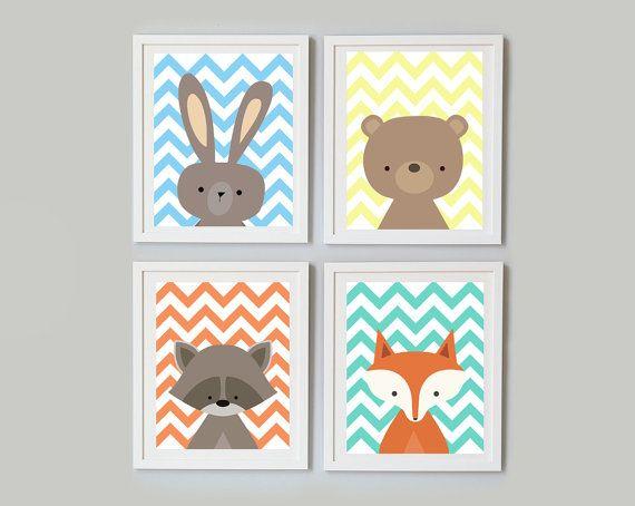 """Set 4 Woodland Nursery Art Print, Instant Download, Digital Art Print, Woodland Animals Nursery Wall Decor, Fox Rabbit Bear Raccoon 11x14"""""""