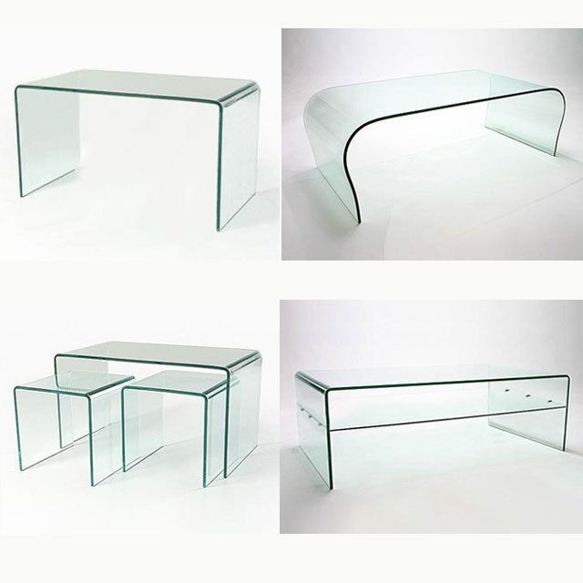 Clear Glass Coffee Table Curved End Living Dining Room Bent Table