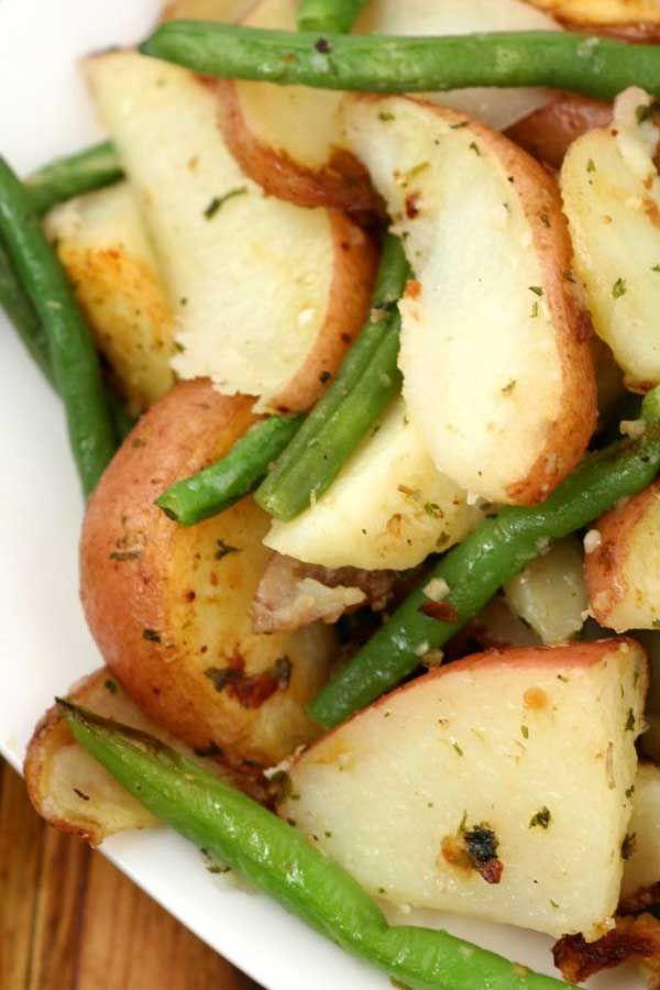 GARLIC HERB ROASTED POTATOES amp GREEN BEANS - Garlic Herb Roasted Potatoes and Green Beans -Potatoes