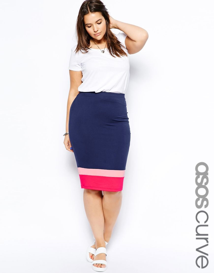 652fed1ab3fbdb Plus Size Colorblock Pencil Skirt From ASOS - PLUS Model Mag. Available in  sizes 14-26. (Shown as UK sizes 18-30).
