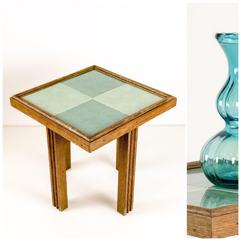 Vintage Kachel-Tisch Beistelltisch mit türkisen Kacheln  Etsy