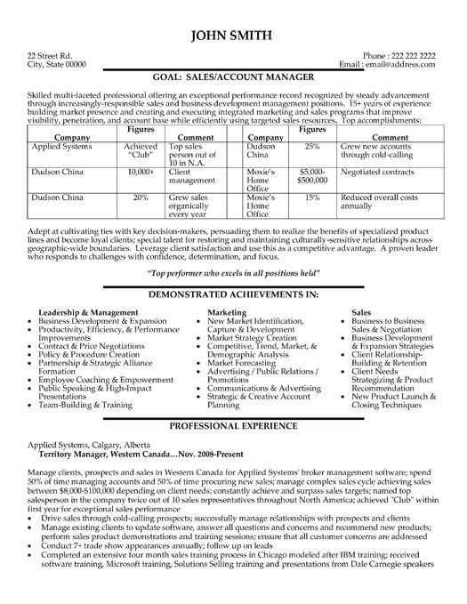 A resume template for a Sales and Marketing Manager. You can ...