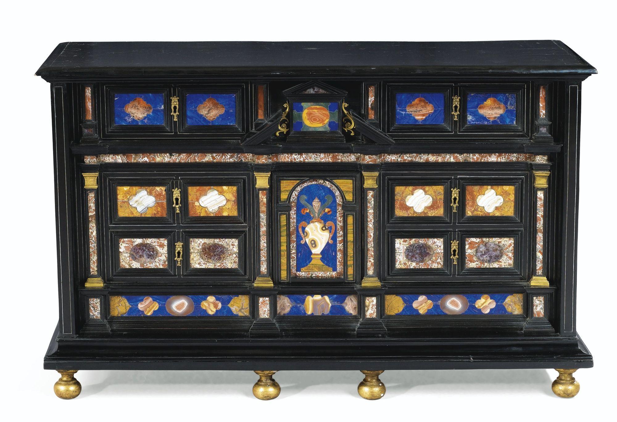 Cabinet en placage d'ébène et marqueterie de pierres dures, travail romain du second quart du XVIIe siècle | Lot | Sotheby's