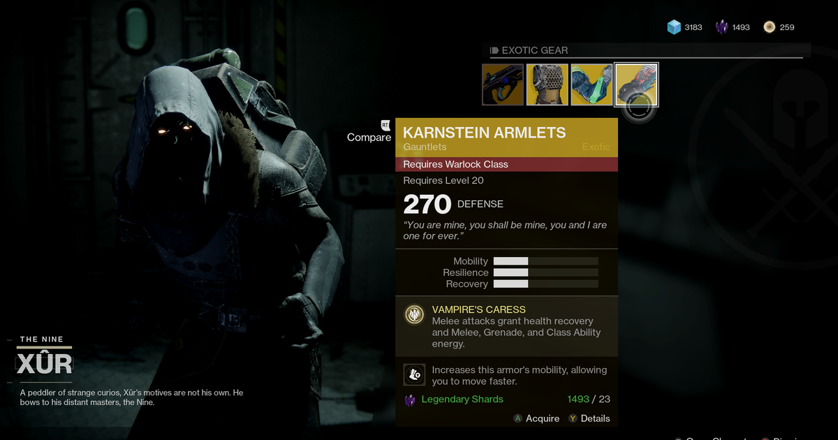 Destiny 2 Where S Xur And What S He Selling November 17th Xur S Back And He S Got The Hard Light Here S Where To Hard Light Destiny Rollingstone