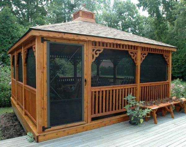 Images Of Deck Pavilions Red Cedar Single Roof Rectangle Gazebos