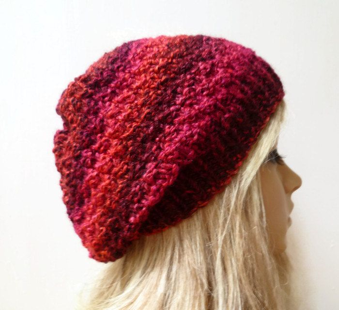 d4f832fb00e Women Chunky Slouchy - Hand Knit Hat - Hand Knitted Slouchy Beanie ...