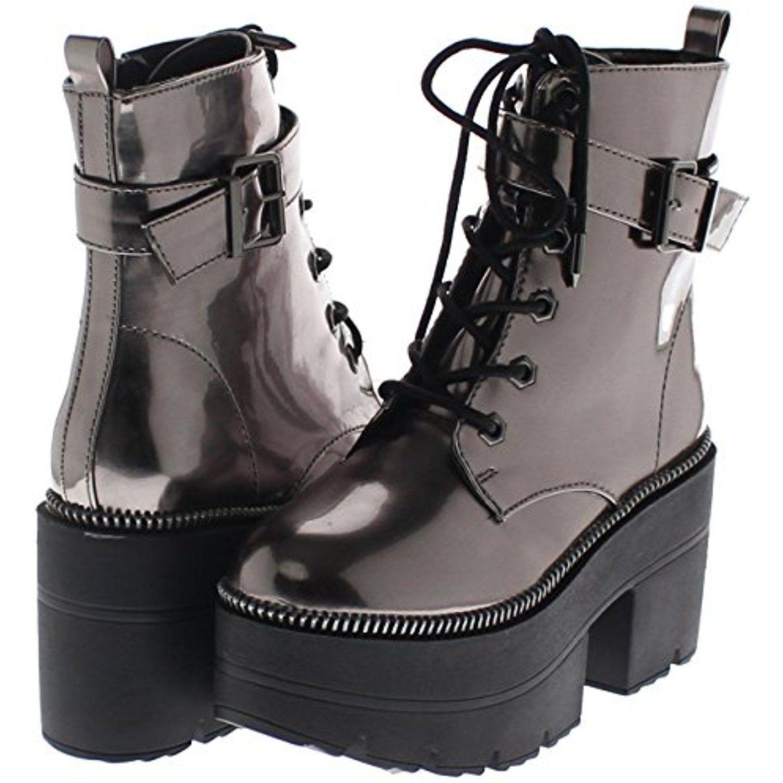 0f2f1eeff3e Shoe Republic Metallic Reflective Chunky Platform Boots Harrison ...