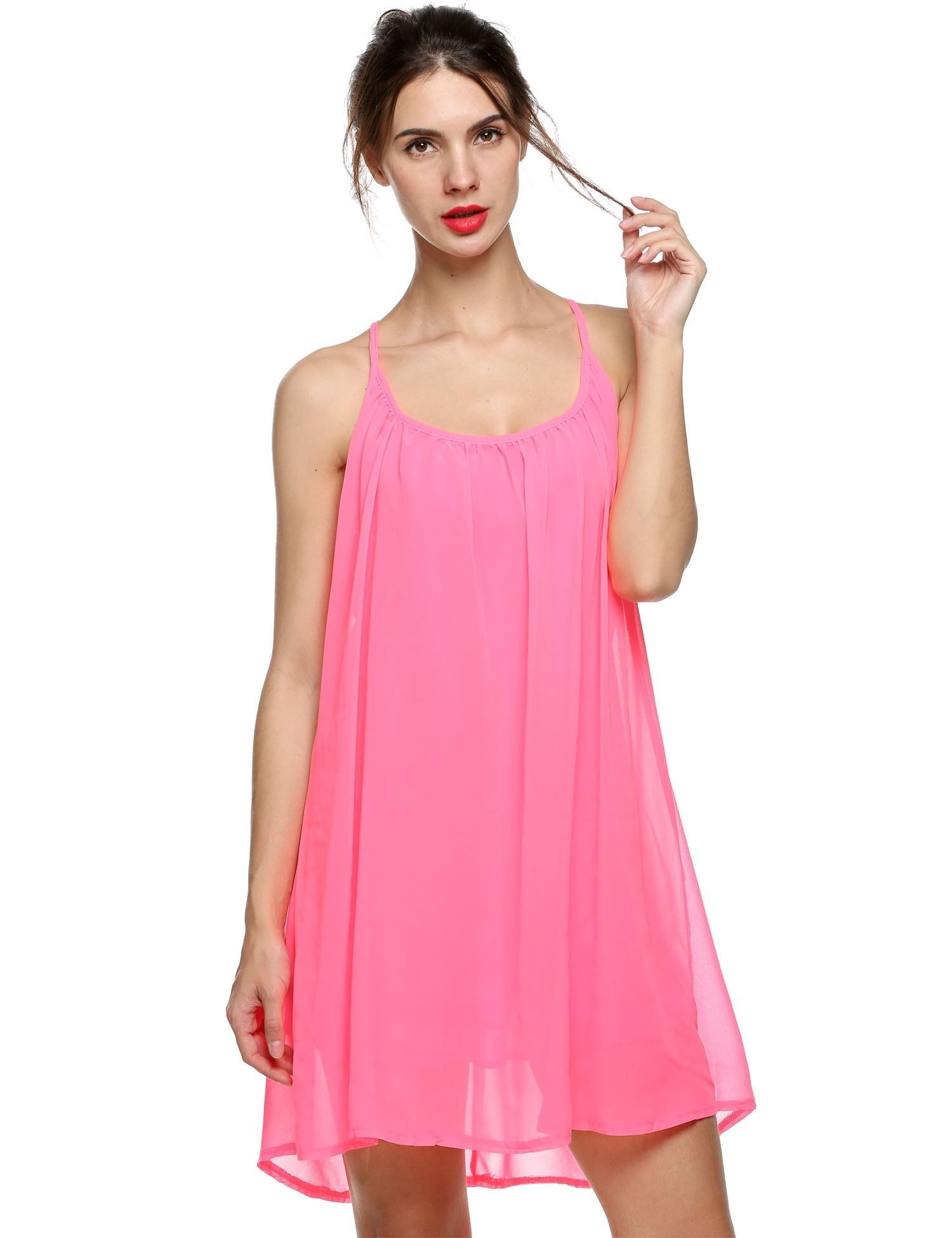8059c167ec92 Loose Chiffon Round Neck Sleeveless Back Hollow Solid Casual Dress ...