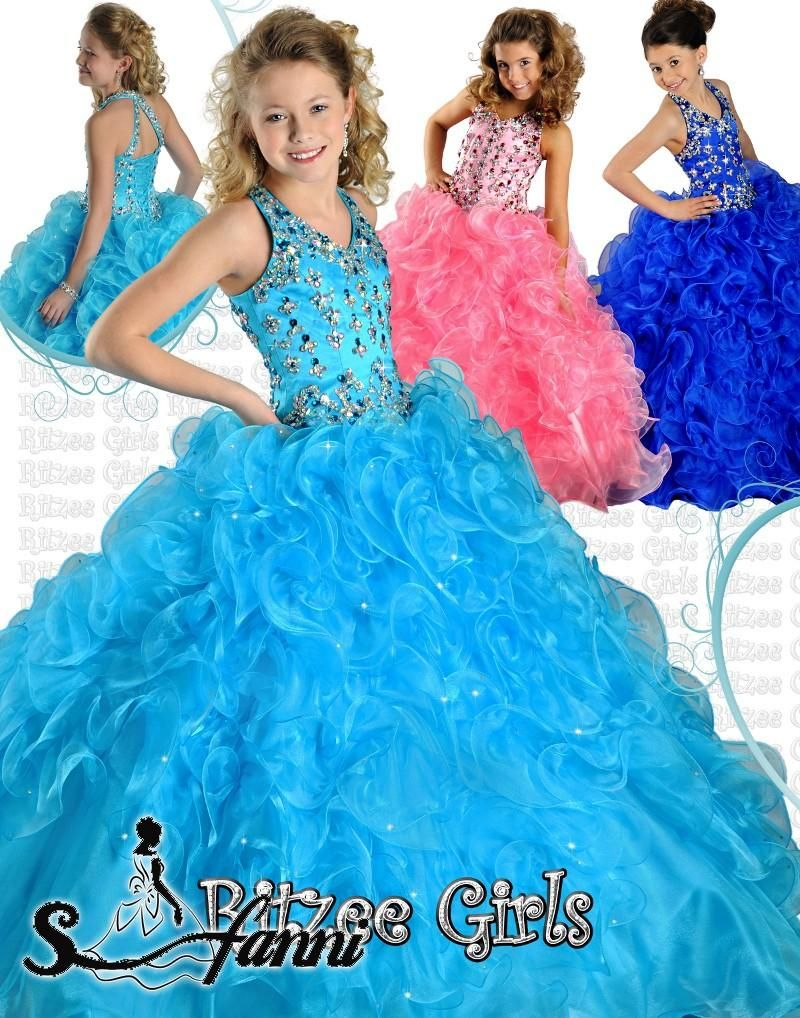 Gorgeous yellow halter ball gown princess fold girls pageant dresses