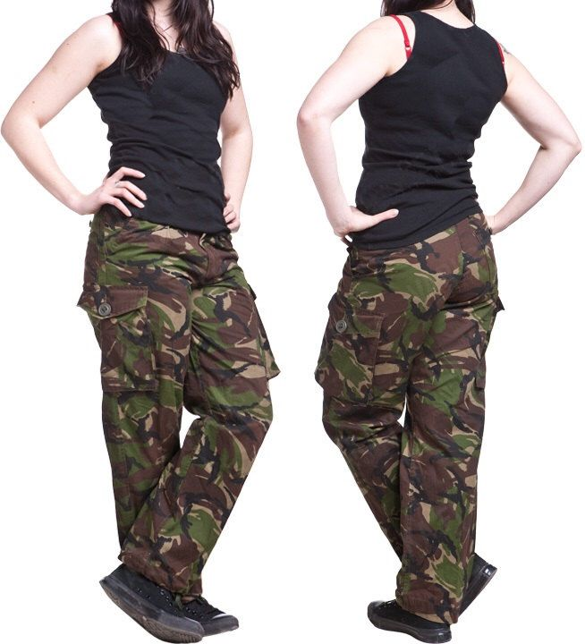 Vintage Women's British army camo trousers pants military camouflage cargo combat woodland DPM by ChevaldeGuerre on Etsy https://www.etsy.com/listing/246909194/vintage-womens-british-army-camo