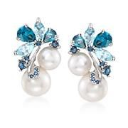 Product Image | 6-8.5mm Cultured Pearl and 2.00 ct. t.w. Blue Topaz With Sapphire Earrings in Sterling Silver