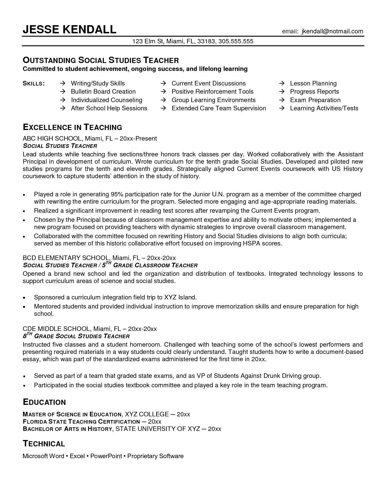 History Teacher Sample Resume