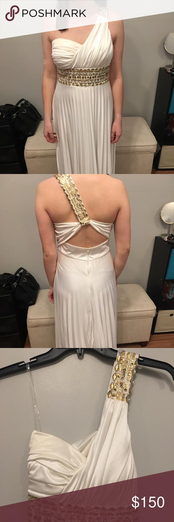 Creamgold jewel long dress worn once prom ball my posh picks