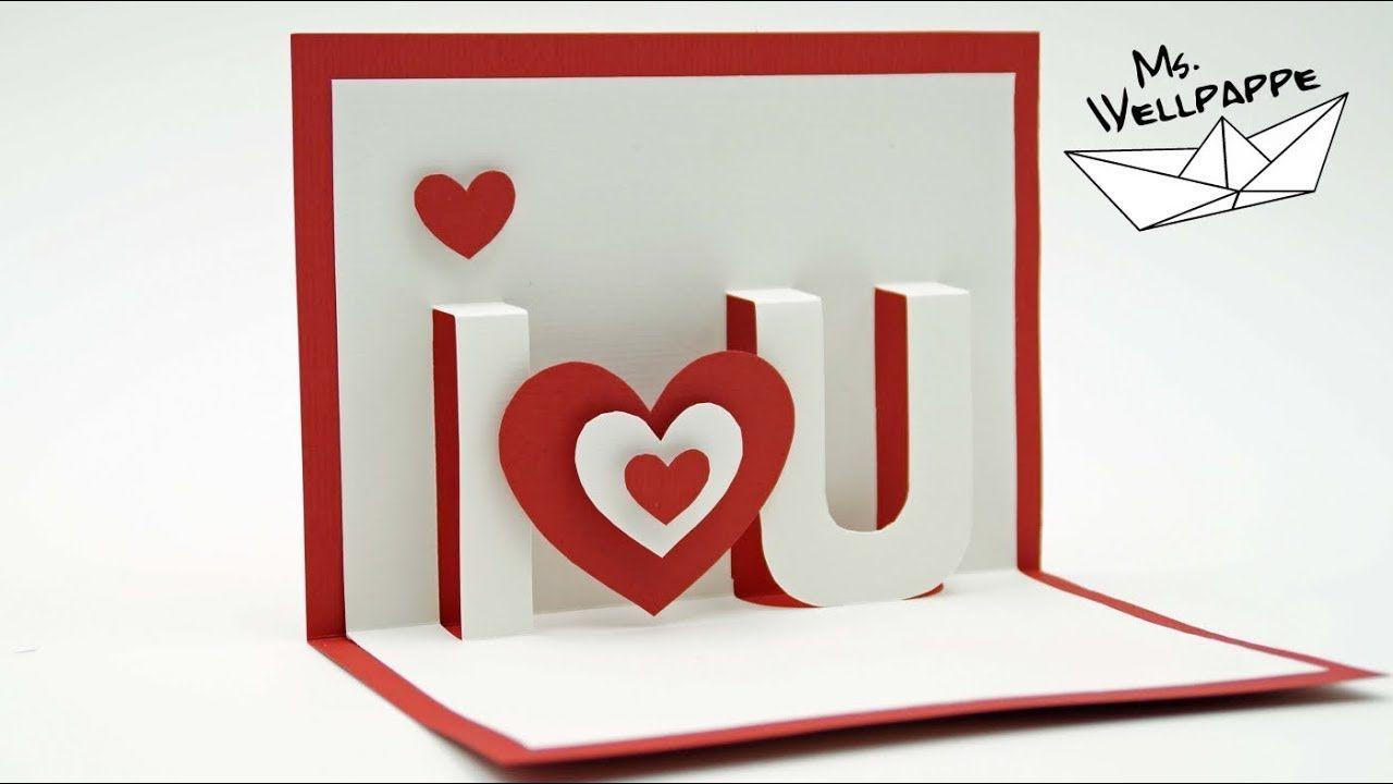 I Love You Valentine S Day Pop Up Cards Paper Craft Tutorial Diy Regarding I Love You Pop Up Card Tem Pop Up Karte Basteln Papierkarten 3d Karten Basteln