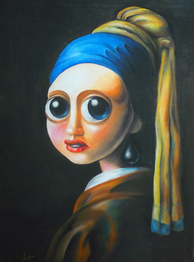 Interpretation Of Vemeer's Girl With The Pearl Earring Pastel On Paper By  Mike R Baker