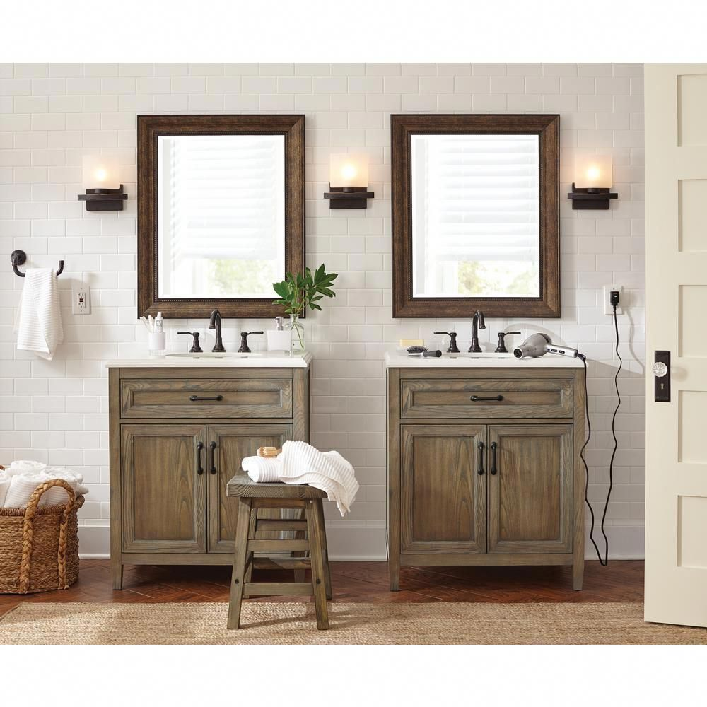 Home Decorators Collection Walden 31 In W Vanity In Driftwood Grey With Engineered Stone Vanity Top In Crystal White With White Sink Wlggvt3122 In 2020 Bathroom Interior Design Bathroom Interior Engineered Stone