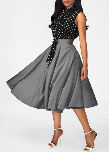 Black High Neck Top and Grey Skirt | Pinterest