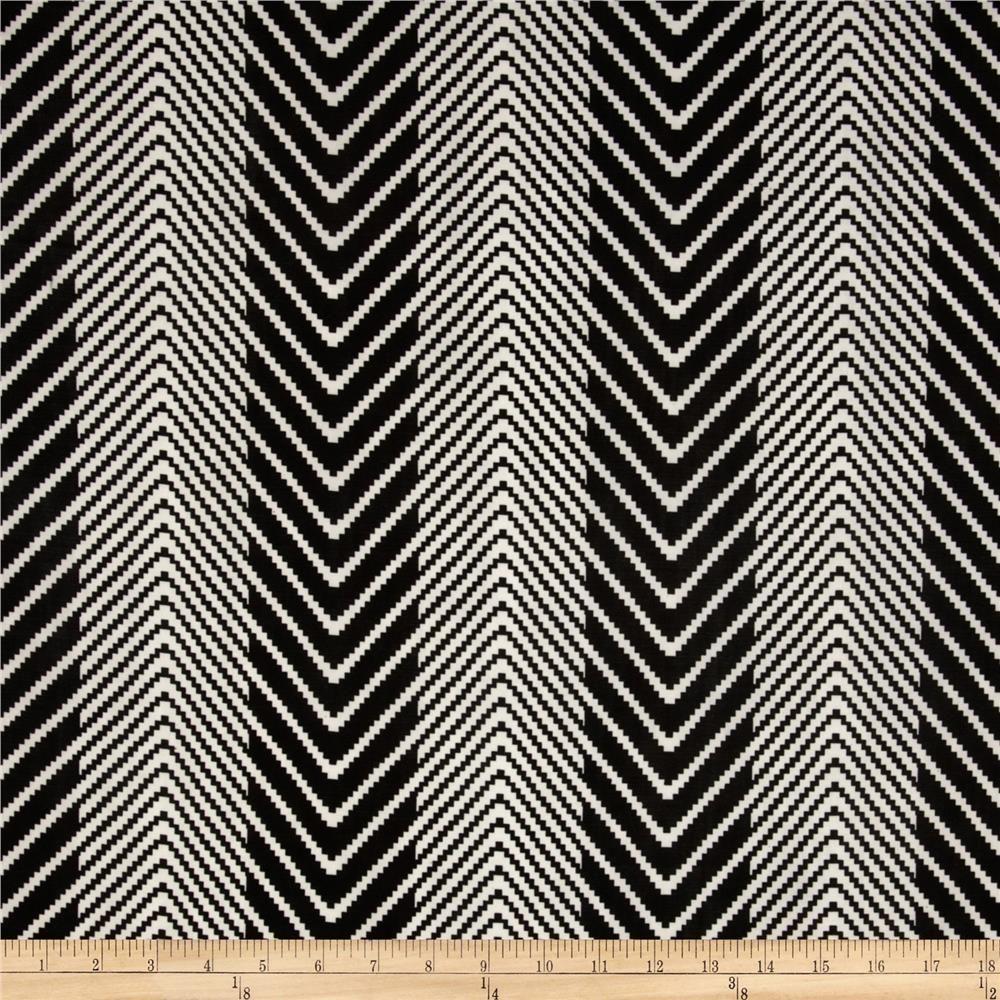 Stretch Jersey Chevron Stripe Black/White