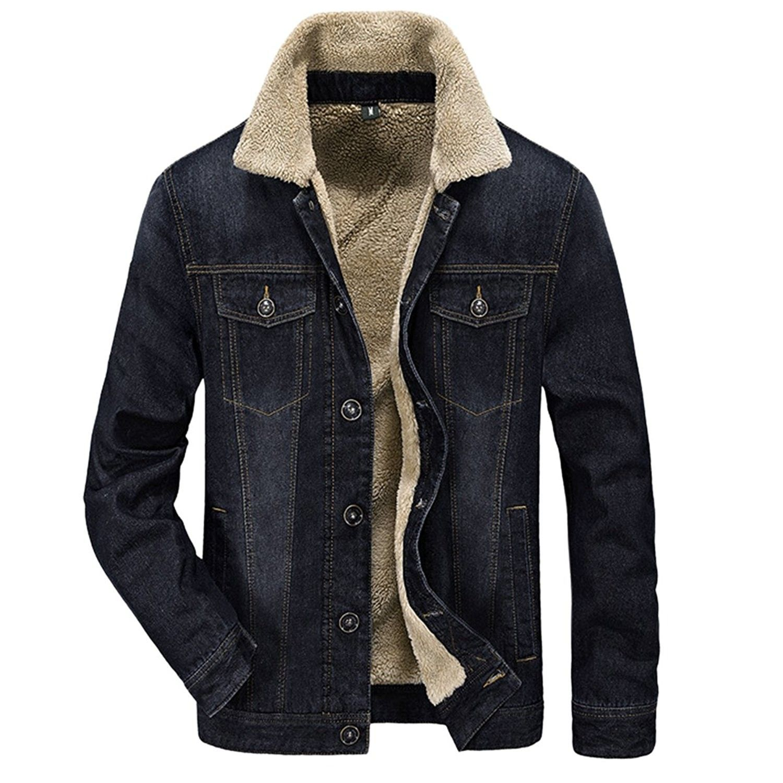 Men S Denim Jean Jacket Button Front Slim Fit Sherpa Lined Trucker