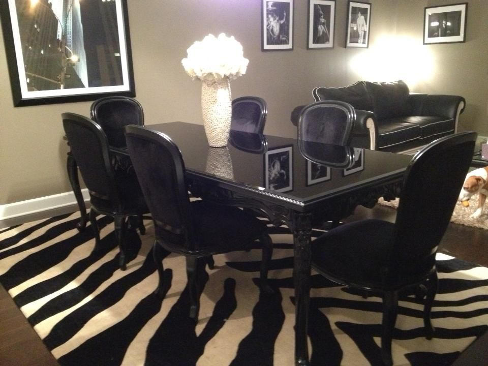 French Carved Dining Table 6 Chairs Black Black Dining Room