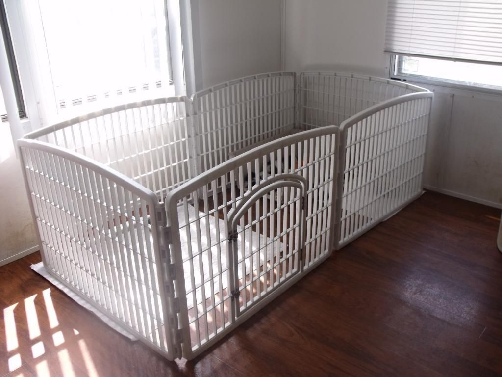 White Metal Dog Pen Inc 4 Panel Indoor Outdoor