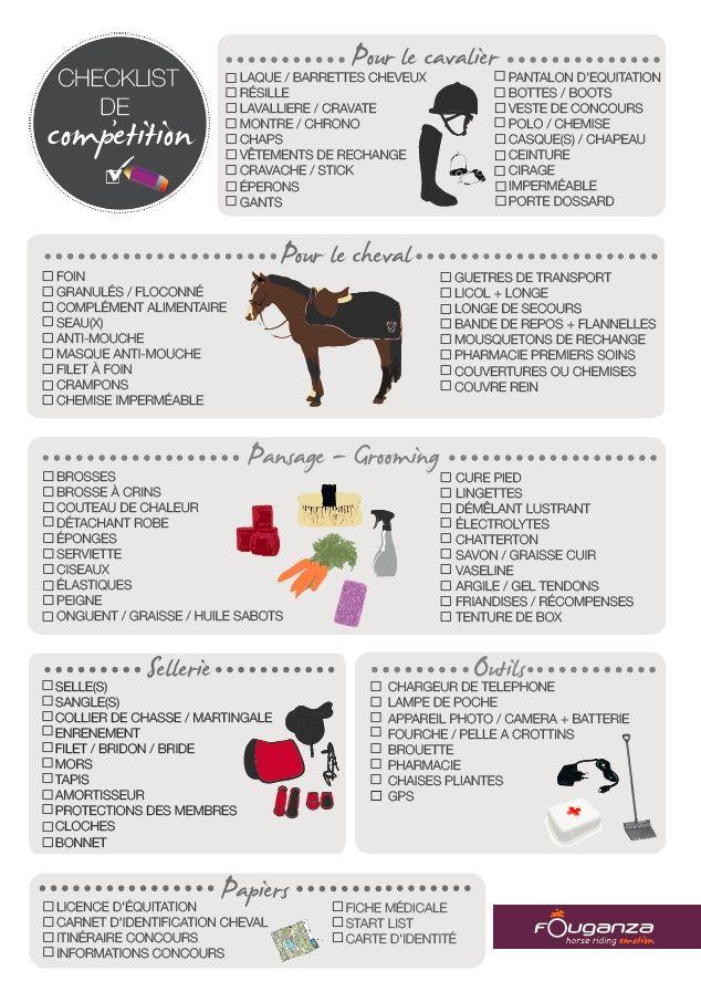 Check-list de concours   Fouganza Citations Equitation, Equipement  Equitation, Friandises Pour Cheval ee0e78831b6