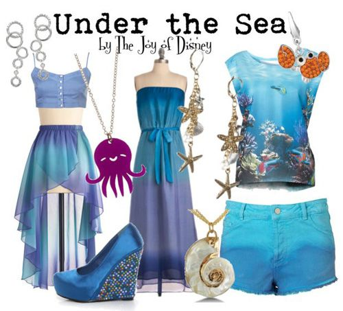 """Outfits inspired by the """"Under the Sea"""" scene from the Disney movie Little Mermaid"""