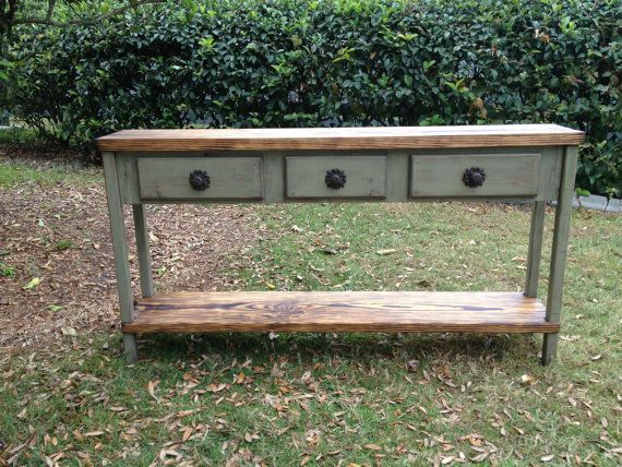 Distressed wood console table or sofa table 60 inch with ...