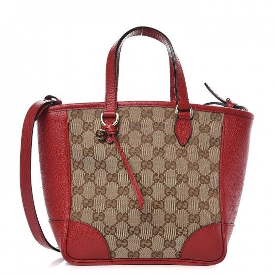 02daf8cab9 This is an authentic GUCCI Monogram Small Bree Tote in Red. This stylish  tote is finely crafted of brown on beige Gucci GG monogram canvas with red  leather ...