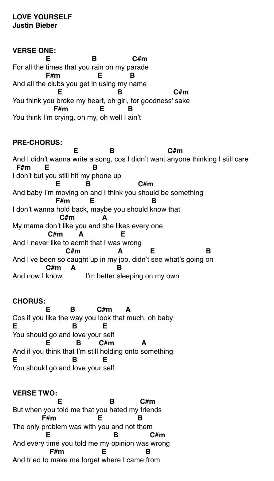 Love Yourself Ukulele Chords : yourself, ukulele, chords, Yourself, Ukulele, Chords, Songs,, Guitar, Songs