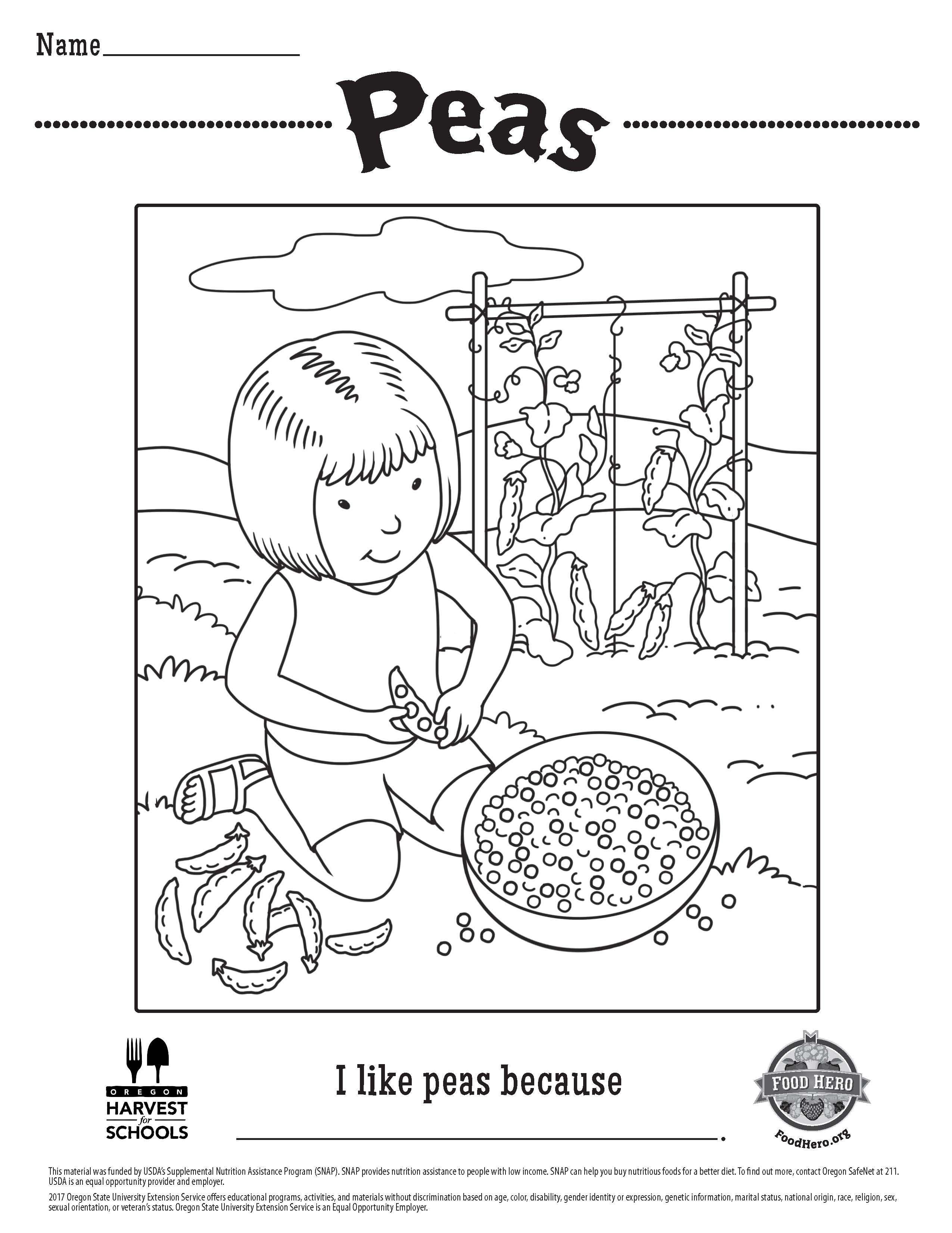 Free Printable Children\'s Coloring Sheet Food Hero Peas. Kids ...