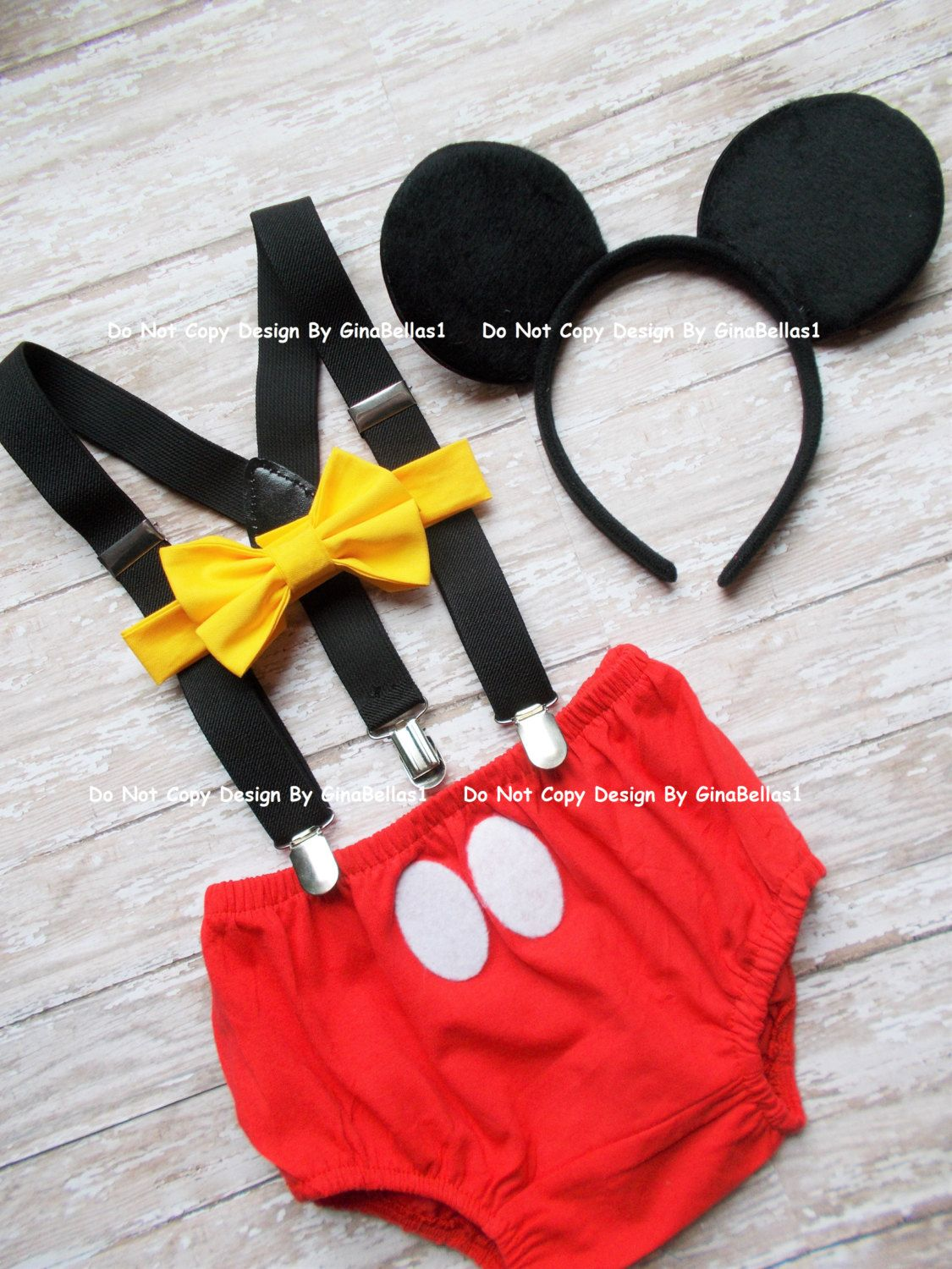 Mickey Mouse Birthday Cake Smash Outfit FREE Ears Suspenders