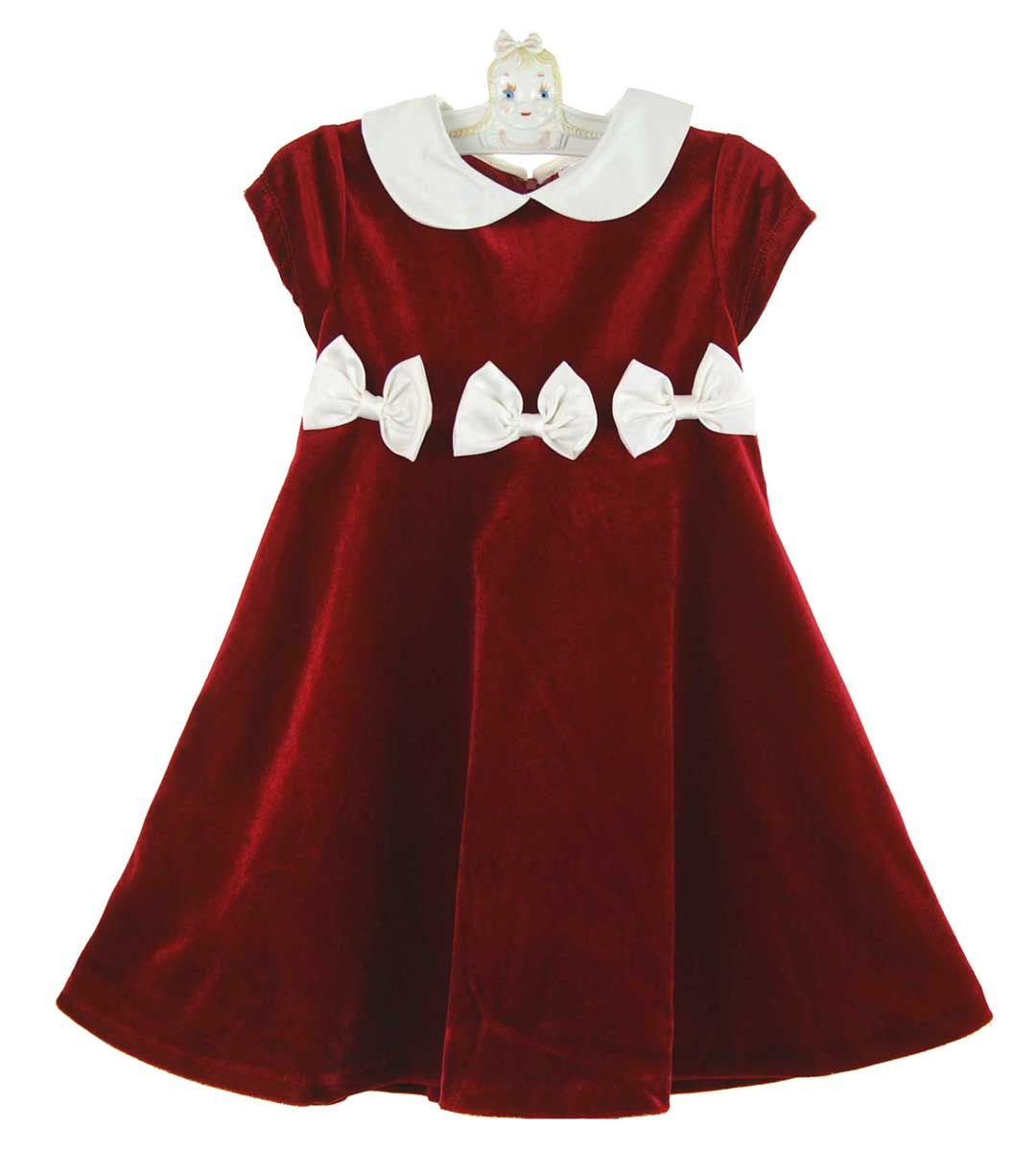Rare Editions Christmas Toddler.New Rare Editions Red Velvet Dress With Ivory Collar And