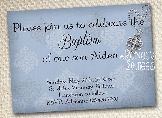 BAPTISM INVITATION - Printable Damask Invite - for Boys, Girls or - sample baptismal invitation for twins