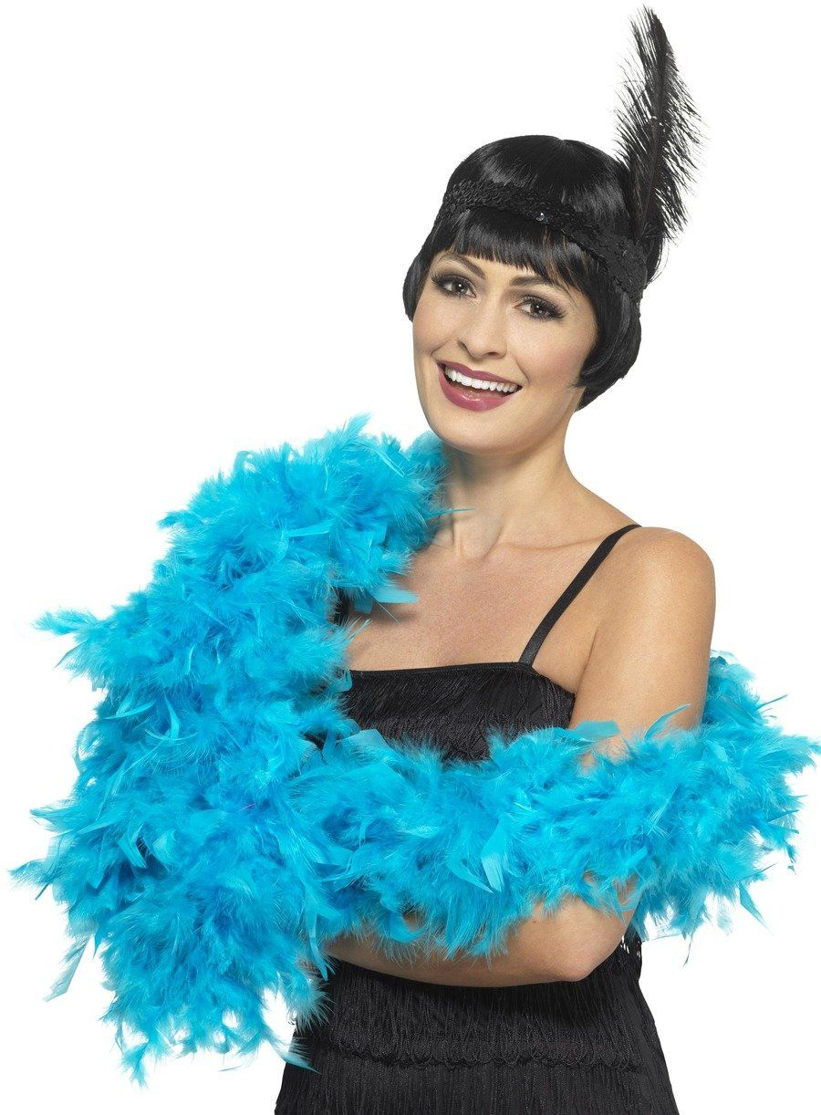 Deluxe Feather Boa Turquoise Blue Blue Feather Feather Dress Fancy Dress Accessories