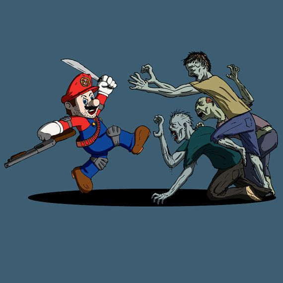Mario Fights Zombies by ZombieSurvivorz on Etsy