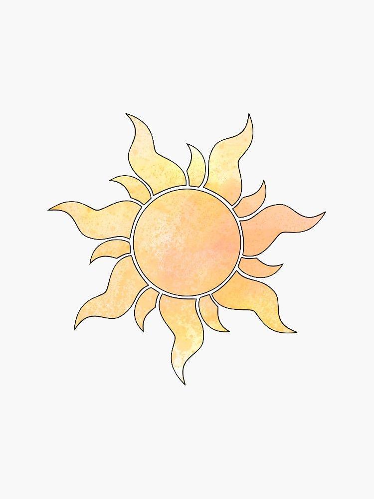 Tangled Sun Sticker By Stickerr Redbubble Tangled Painting Sun Tattoo Designs Sun Painting